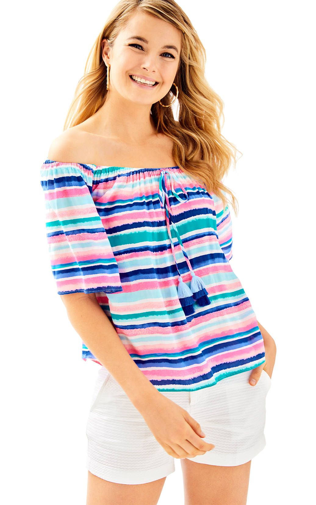 e6324ae073c314 Sain Off The Shoulder Top | lilly p | Tops, Lilly pulitzer, Sweater ...