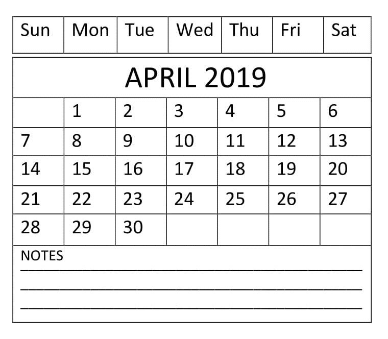 Editable April 2019 Calendar Word Template In Portrait And