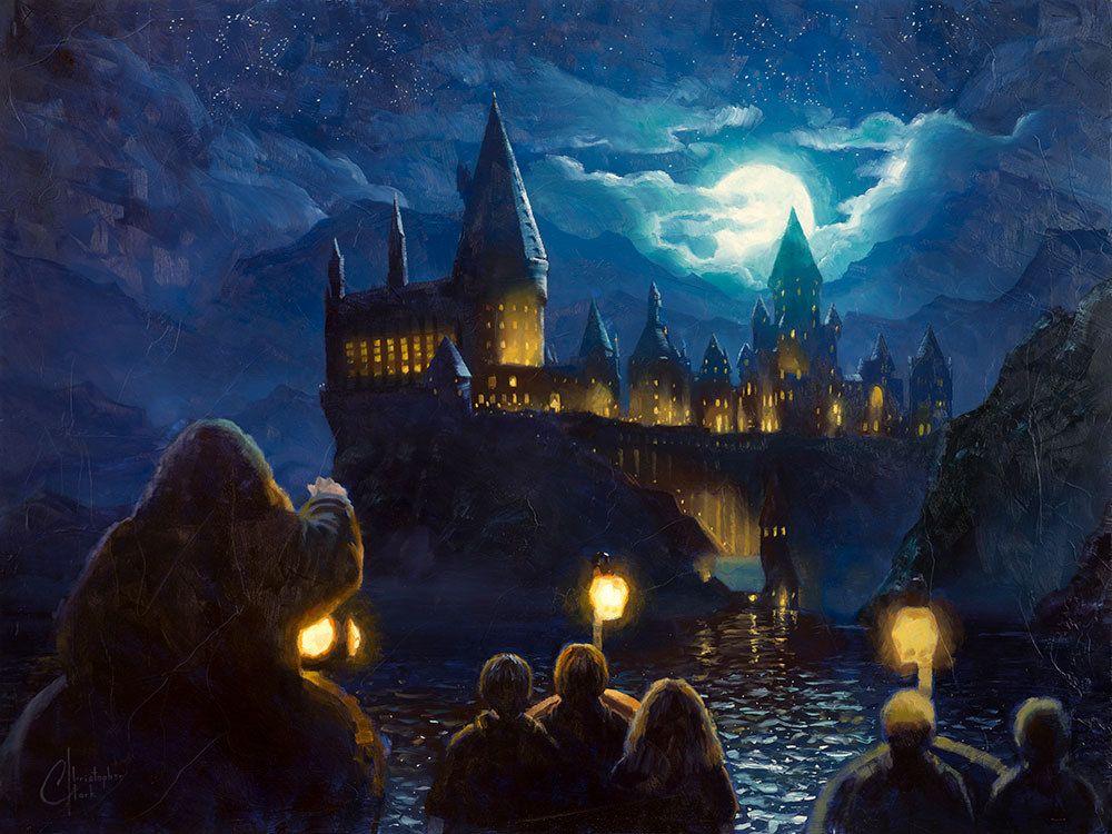 Harry Potter Journey Across The Black Lake Harry Potter Painting Harry Potter Drawings Harry Potter Art Drawings