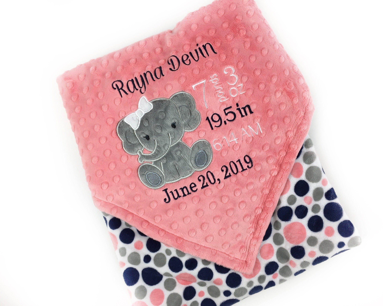Birth Stat Blanket Newborn Baby Blanket Minky Baby Blanket Baby Shower Gift Personalized Baby Blanket