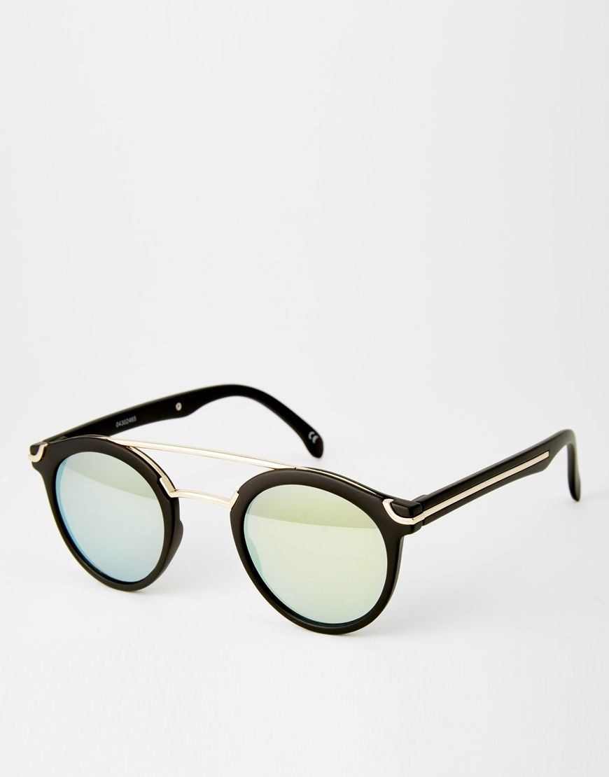 ASOS+Round+Sunglasses+With+Metal+Bridge+High+Bar+And+Flat+And+Flash+Lens