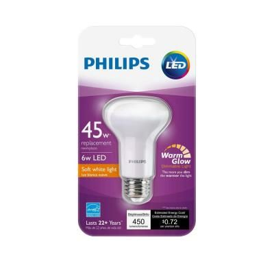 Philips 50w Equivalent Soft White R20 Dimmable With Warm Glow Light Effect Led Light Bulb E 456995 The Home Depot Led Light Bulb Light Bulb Light Effect
