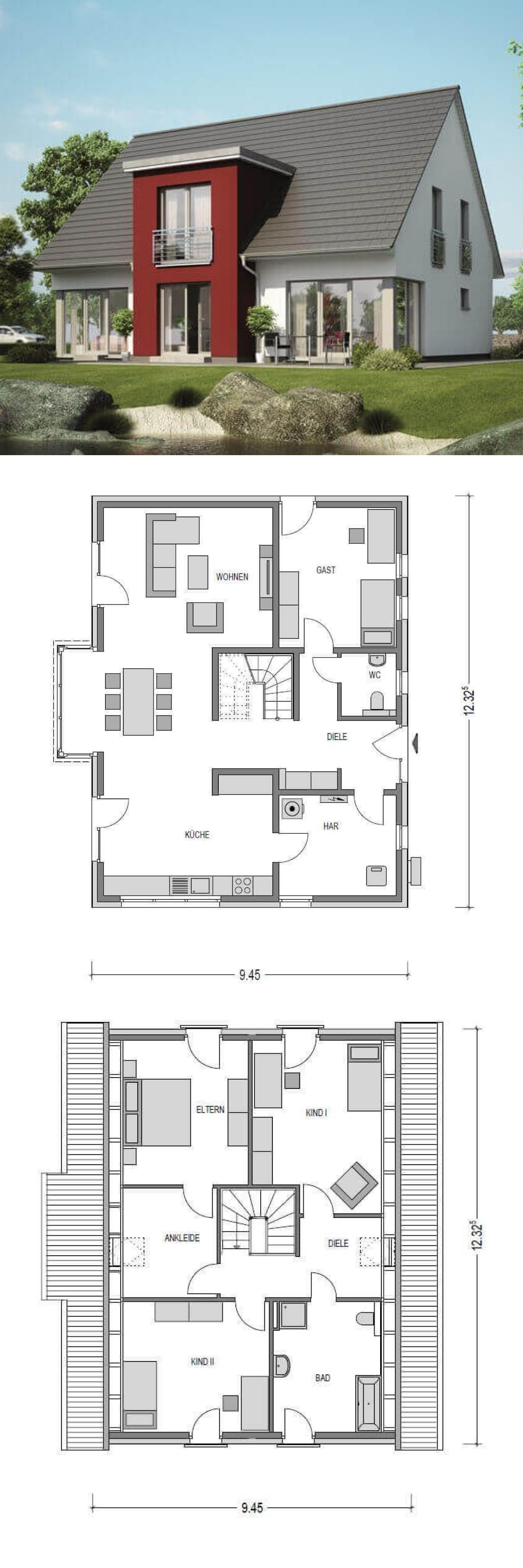 Einfamilienhaus neubau modern mit quergiebel satteldach for Minimalistisches haus grundriss
