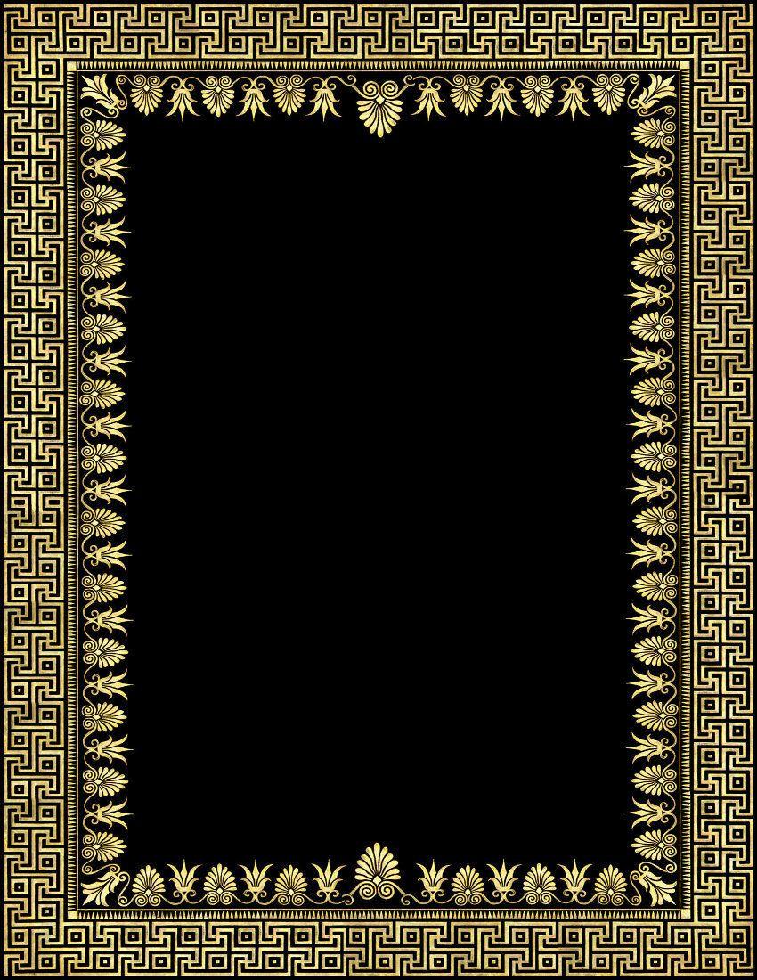 Ornate Gold Black Frame Clipart Greek frame, Frame decor