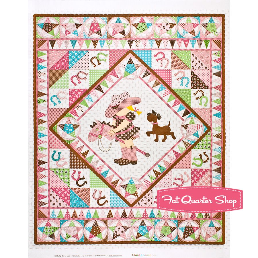 Giddy Up Pink and Brown Baby Cowgirl Quilt Panel SKU# 3523-21 - Fat Quarter Shop Baby Cowgirl ...