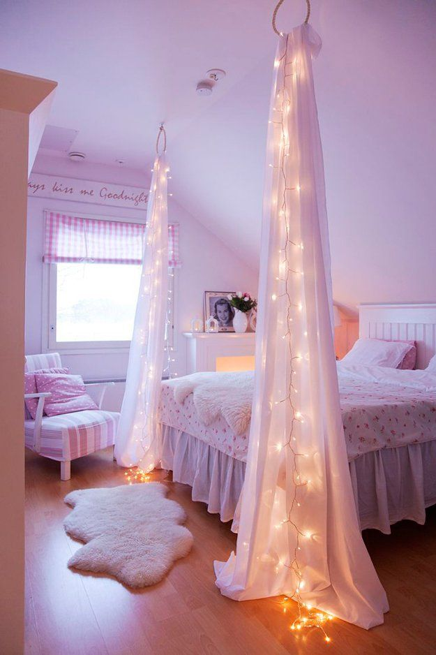 Cool DIY Projects for Bedroom Decor for Girls   Starry Bed Post by DIY  Ready at. Teen Room Decor   String lights  Diy projects for bedroom and Girls