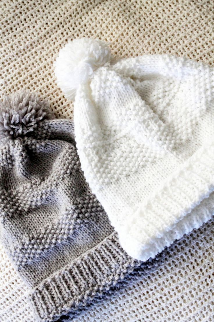 Pompom Knitted Hat - free pattern @ just white cotton | Knit ...