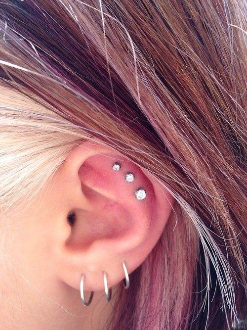 Triple piercing | Multiple ear piercings, Piercings, Three ...