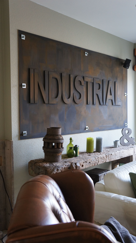 industriele wanddecoratie roestmetaal te bestellen
