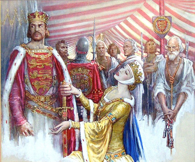 Queen Phillippa of Hainault and King Edward III of England art by John Millar Watt