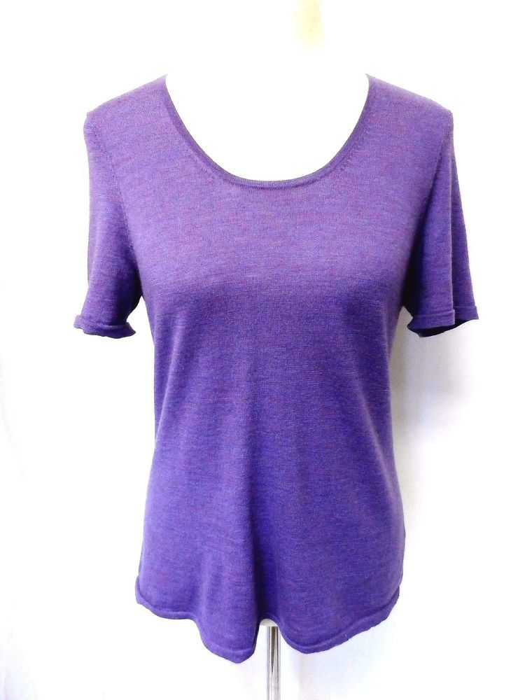 NWOT EILEEN FISHER Sz M DARK ORCHID 100% MERINO WOOL SHORT SLEEVE TOP SWEATER  #EileenFisher #Rounded