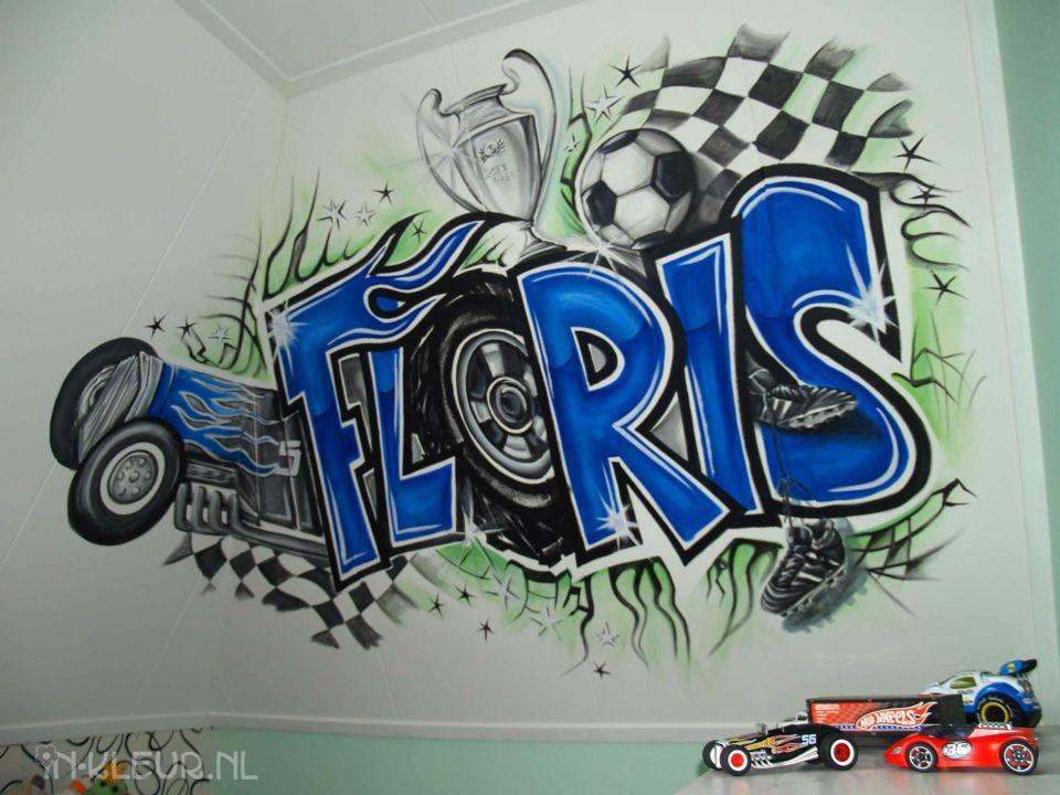 Jongenskamer Met Naam In Graffiti Letters Voetbal En Hot