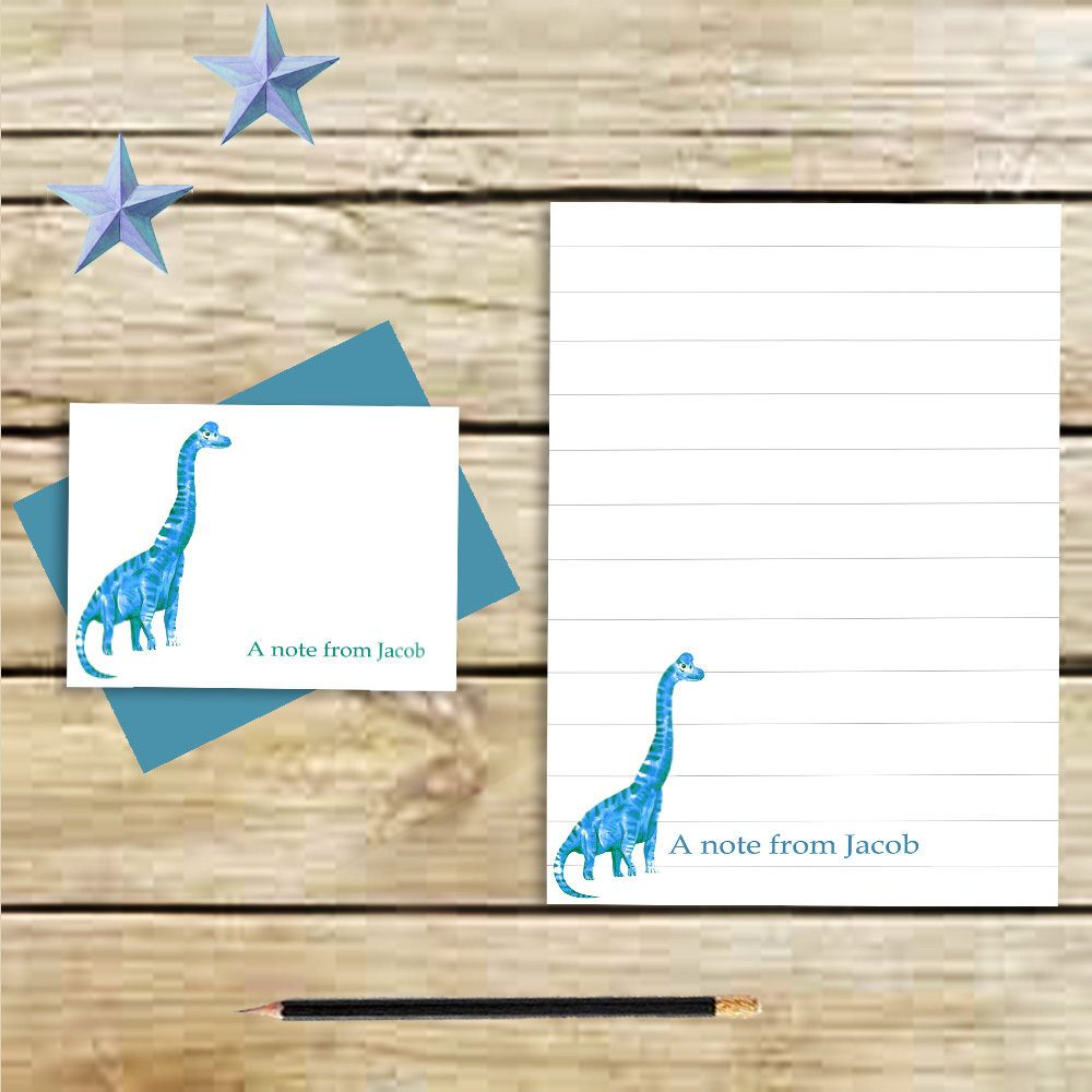 Quiero compartir lo último que he añadido a mi tienda de #etsy: Personalized stationery set -dinosaur stationary - note cards -dinosaur notepad - stationary - printable - letter writing set - gifts kids
