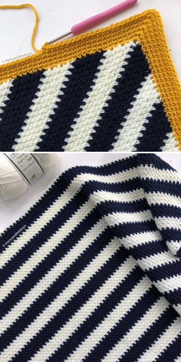 Striped Moss Stitch Blanket by Kerry and The Boys