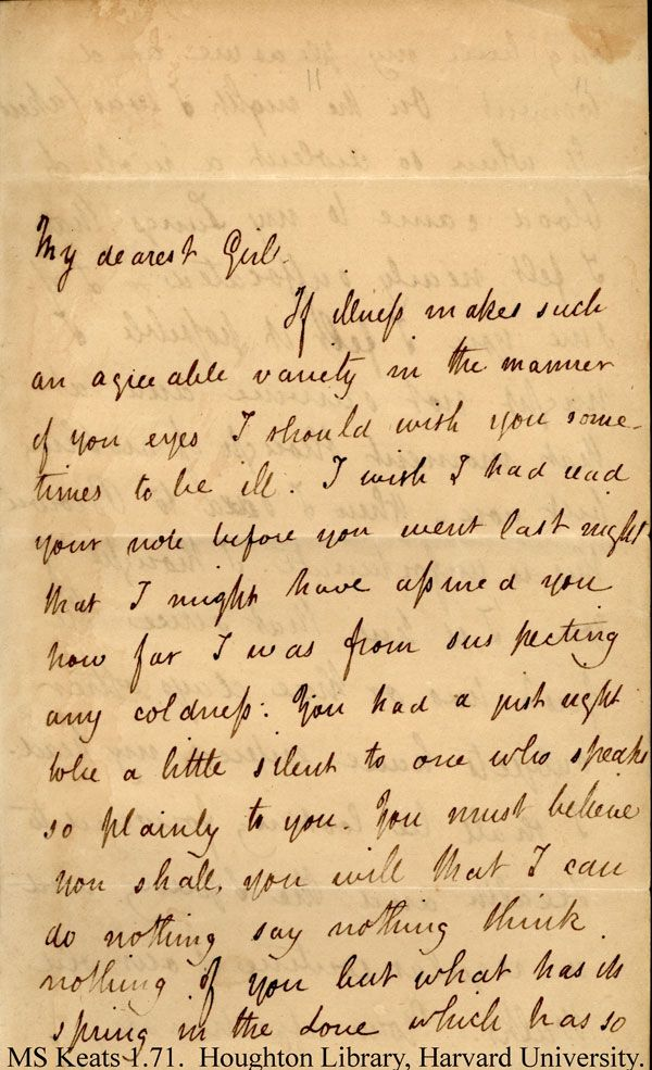 john keats love letters Much have i travell'd in the realms of gold wrote john keats in 1816 – but a love letter the poet penned four years later has now fetched a record amount of the.