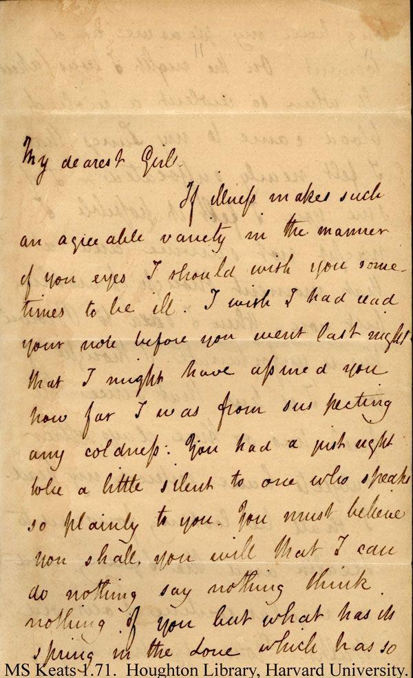 Letter From John Keats To His Love Fanny MsKeats My