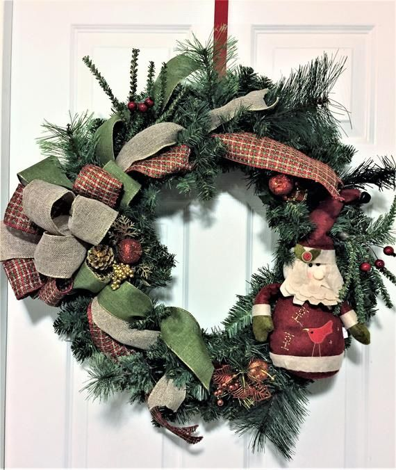 Christmas Wreath For Front Door Burlap Santa Pine Wreath Rustic