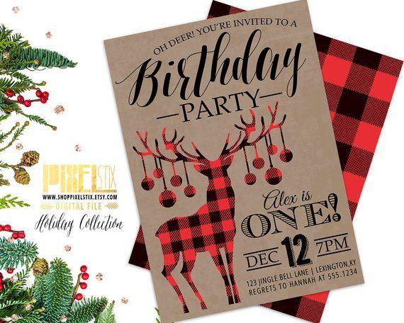 Christmas Birthday Party Invitation, First Birthday Party Invite