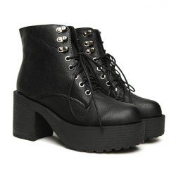 $18.40 Fashion Women's Black Short Boots With Lace-Up and Metallic Design
