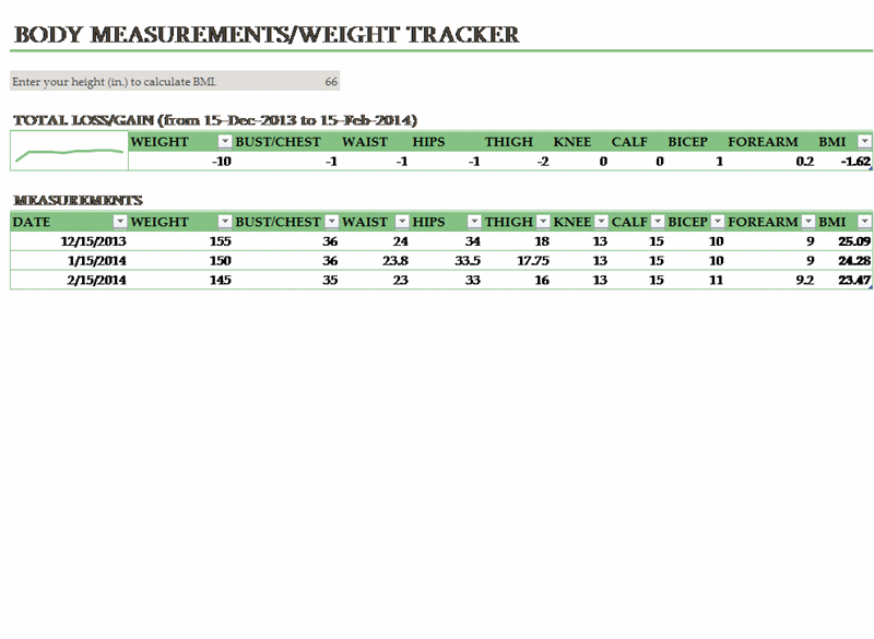 Body Weight And Measurements Tracker  Office Templates