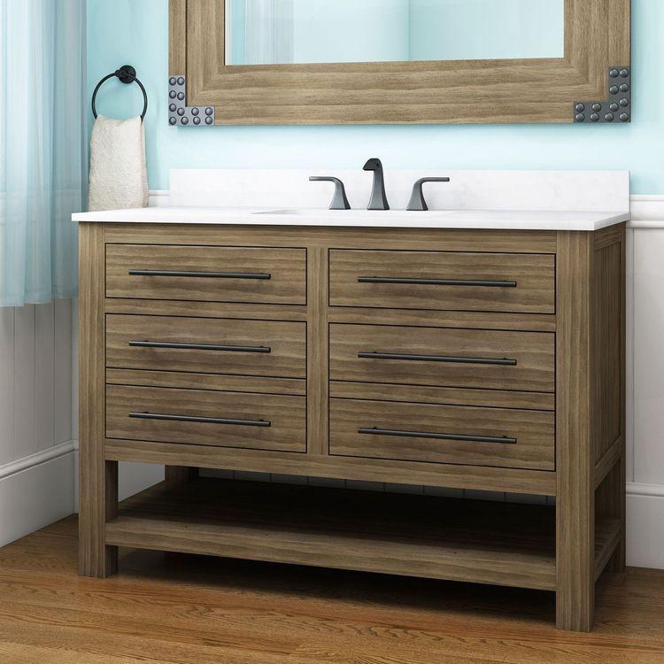 Allen Roth Kennilton 48 In Gray Oak Single Sink Bathroom Vanity