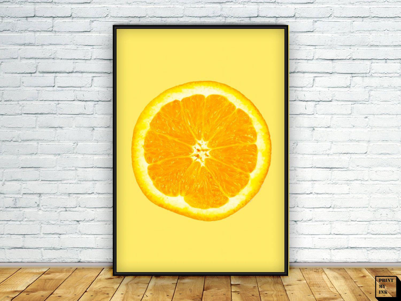 Orange print, Orange Art Wall, Kitchen Art, kitchen Wall Art ...