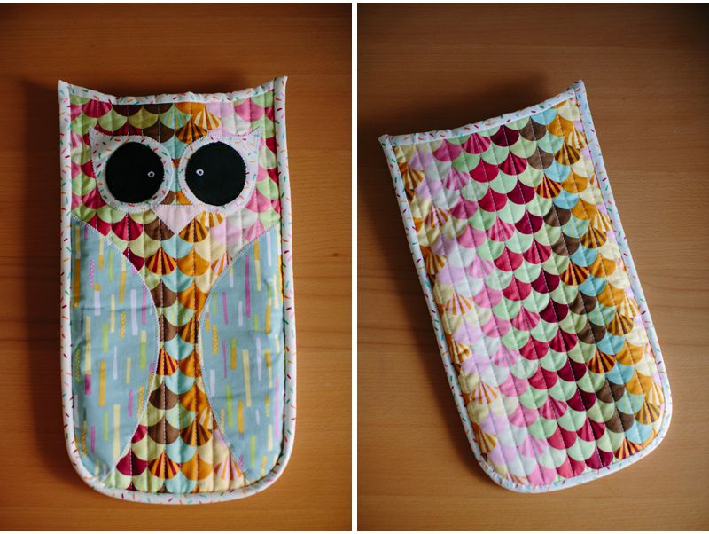 quilted owl hot water bottle cover with applique | shameless ... : quilted hot water bottle cover - Adamdwight.com