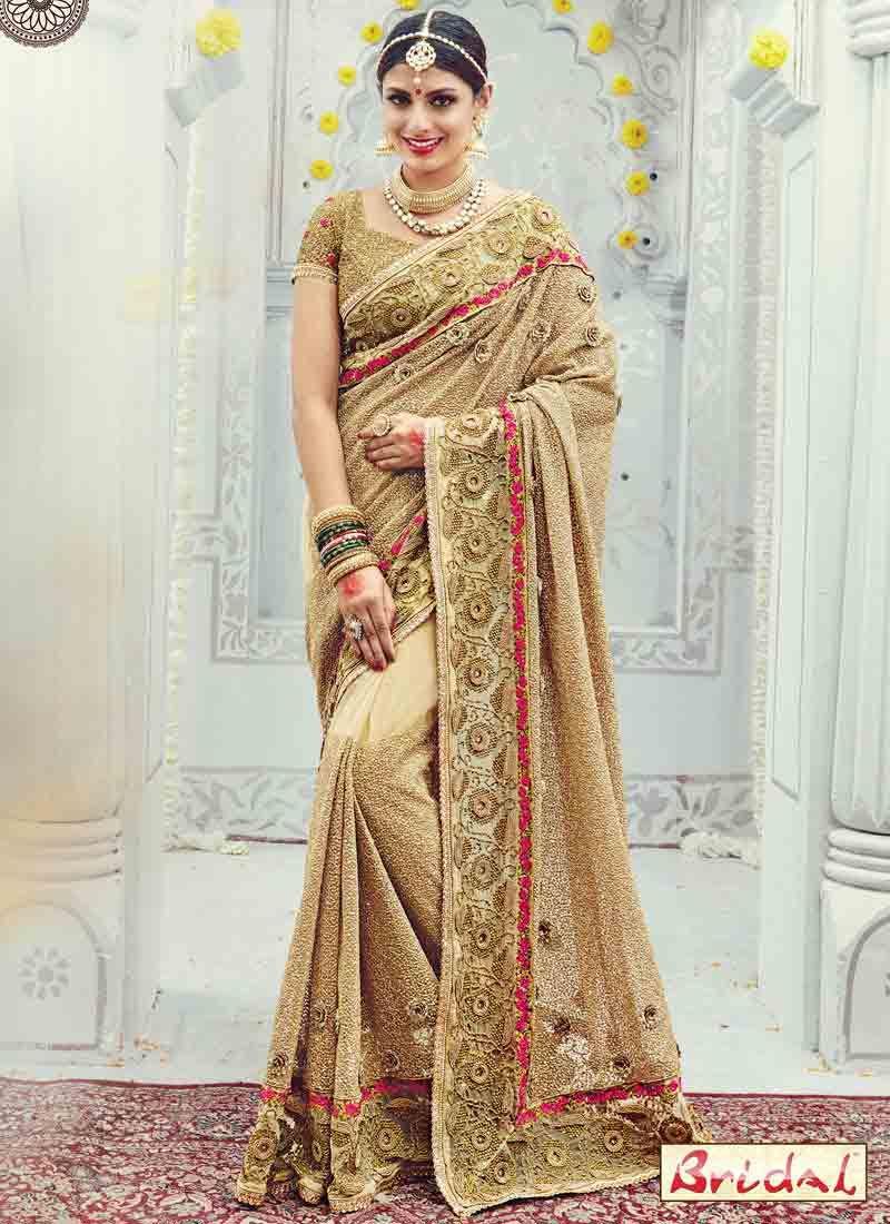 Golden Designer Saree For Wedding Fancy Sarees Saree Designs