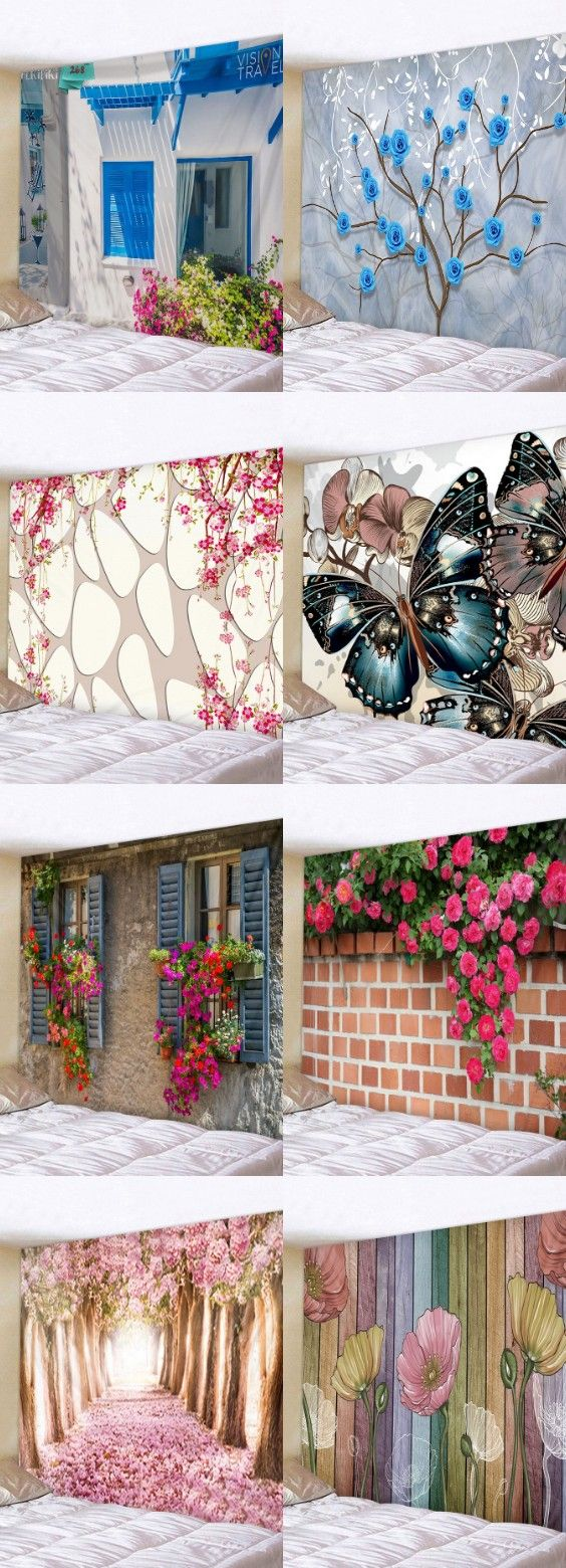 Colorful Wood Grain Flowers Print Tapestry Wall Hanging Art Decoration. #dresslily #hangingdecoration #floraltapestry #rustichomeideas
