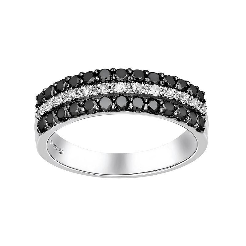 Sterling Silver 3/4-ct. T.W. Black and White Diamond Striped Ring, Women's, Size:
