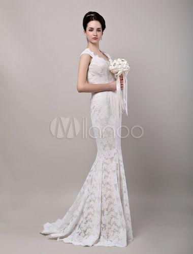 Mermaid Sweetheart Chapel Train Open Back Lace Wedding Dress No4