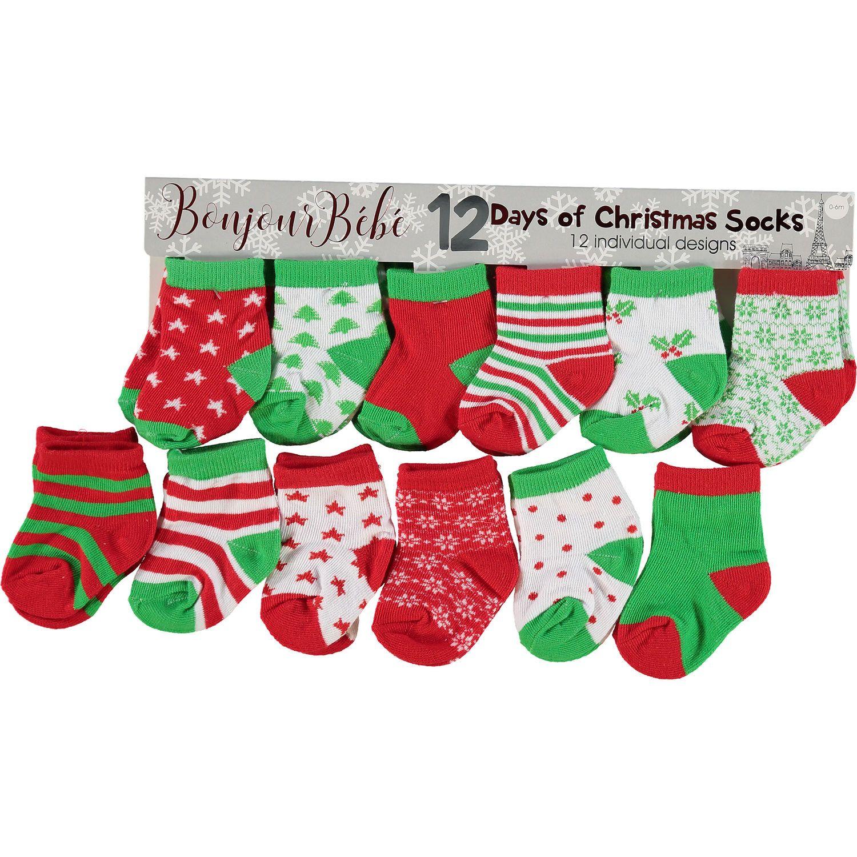 red green 12 days of christmas socks baby nursery kids toys