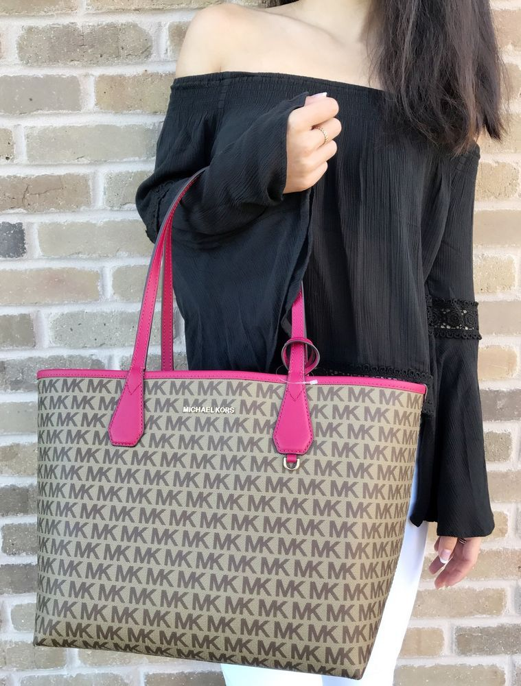 cb0f0ffb8fe8 NWT Michael Kors Candy Large Reversible Tote Brown Signature Lipstick Pink  Pouch  MichaelKors  Tote