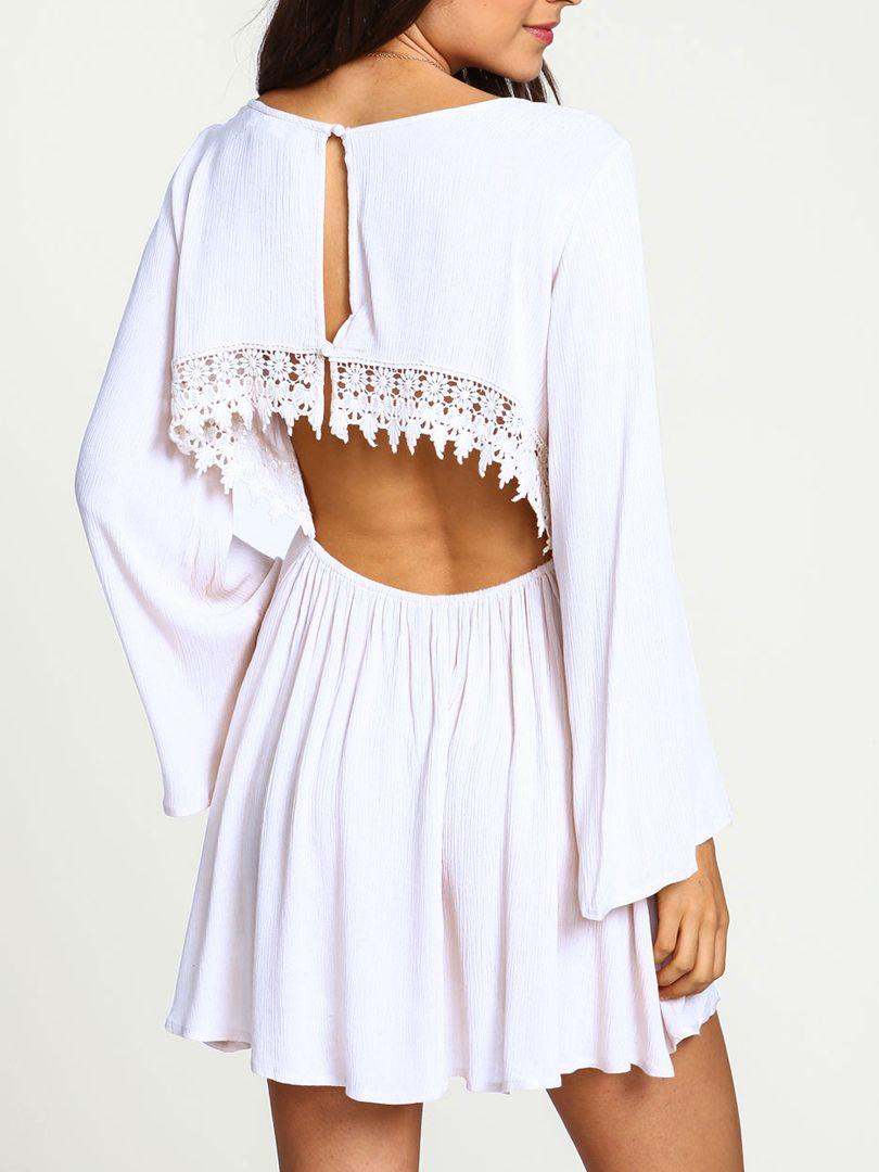 White lace panel cut out back long sleeve elastic waist dress