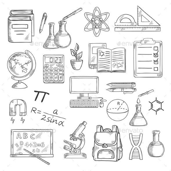 School Supplies Sketches for Education Design Sketches, Calculator