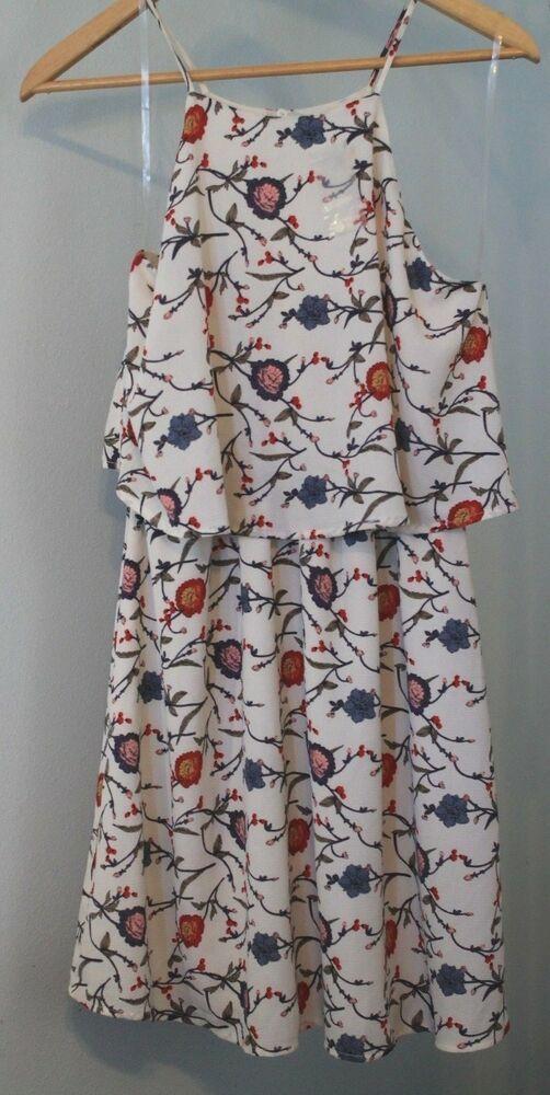 3ae4991946 NWOT LUSH Dress Spaghetti Straps Cream Flowers Floral Blue Red Pink Boho  Style L  LUSH