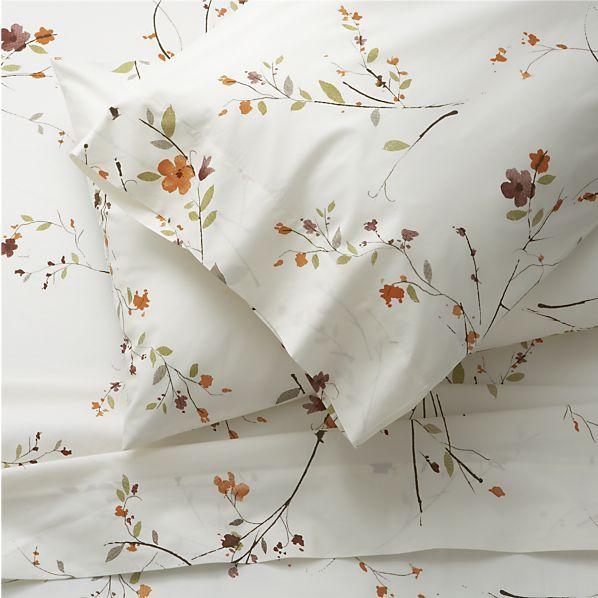 sakura king sheet set in all decorative bedding | crate and barrel