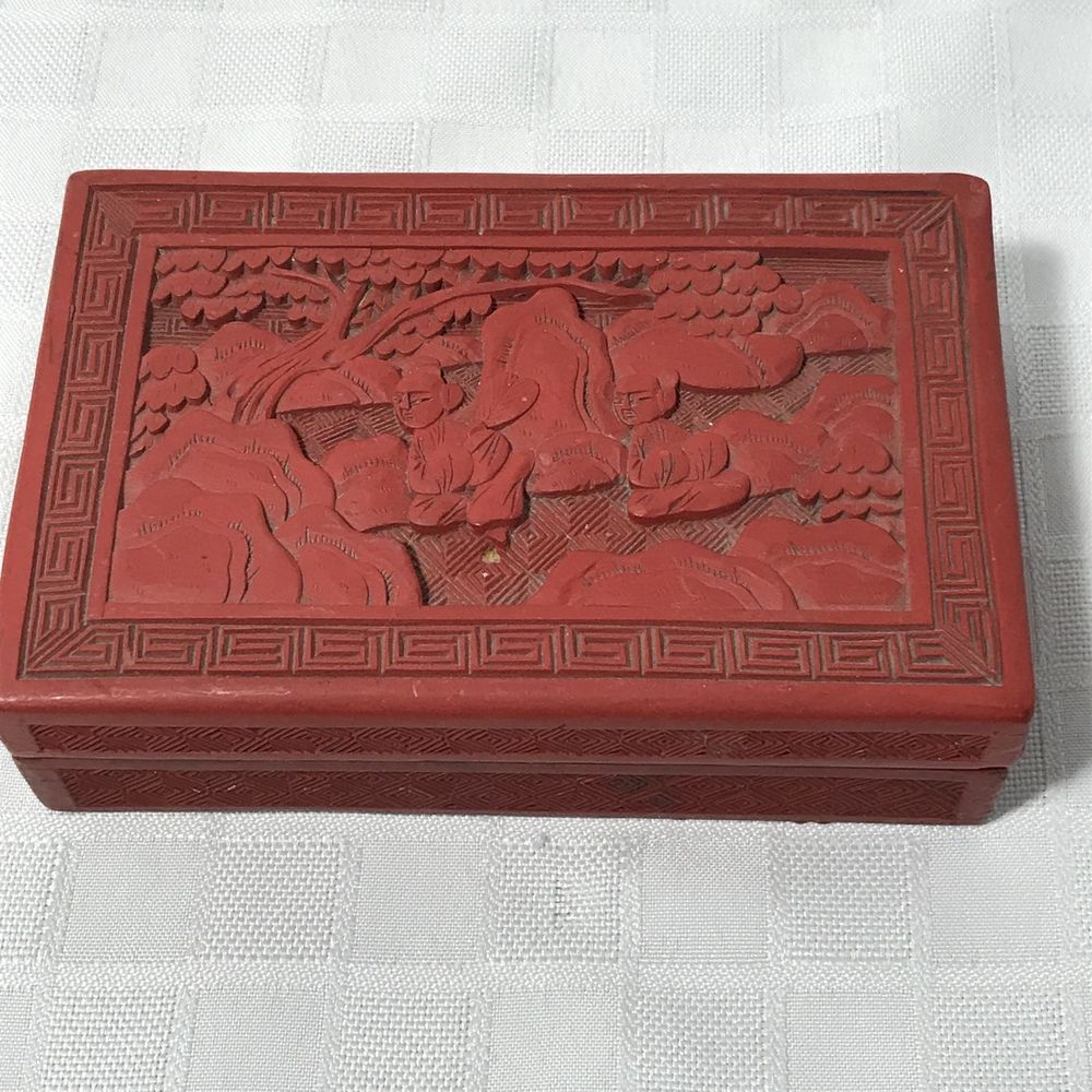 Antique Chinese Red Carved Jewelry Box 55 Long