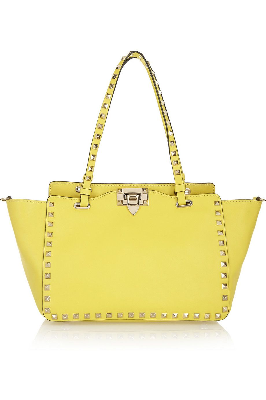 Yellow The Rockstud Small Leather Trapeze Bag Valentino Trapeze Bag Bags Real Leather Handbags