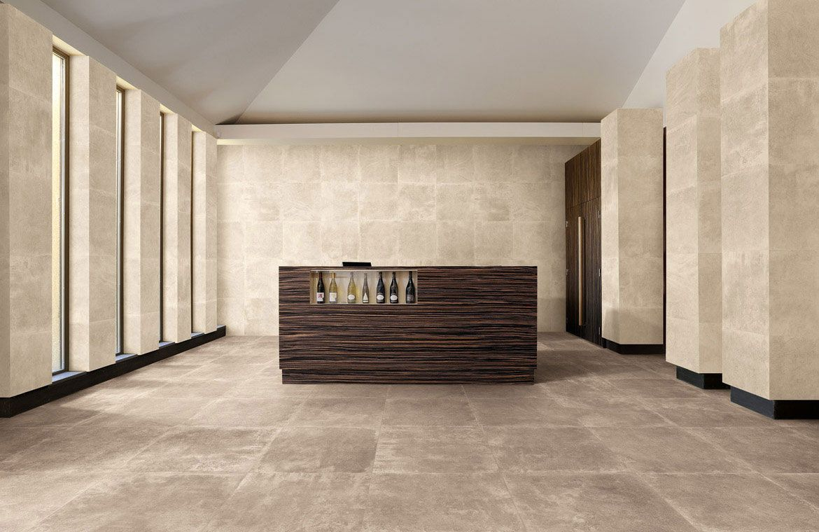 Sienna Petra Natural 24x24 Porcelain Tile Shown In Beige On Wall And Nut Floor