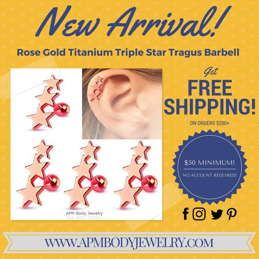APM Jewelry (@APM_BodyJewelry)   Twitter  New Arrival! Rose Gold Titanium Triple Star Tragus Barbell #APMBodyJewelry #DTLA #StVincentJewelryCenter #fashion #bodyjewelry #piercings