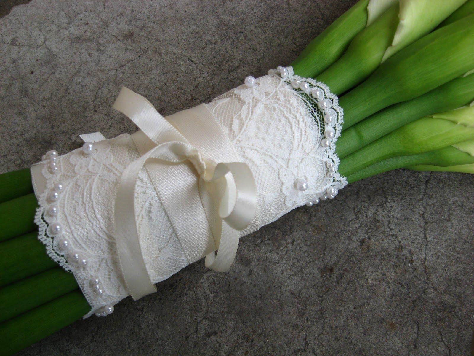 Lace bouquet wrap my classic cherry blossom blushy wedding