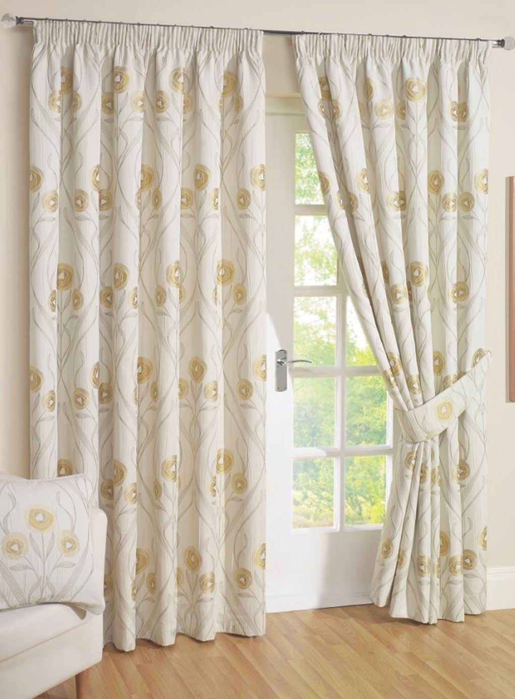 Natural Stylized Flower Pencil Pleat Curtain Patterned Curtains