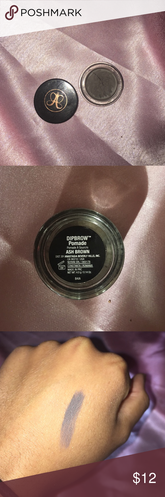 Anastasia Beverly Hills Dipbrow Pomade - Ash Brown  Used only a few times   Slightly dried but nothing like a little coconut oil or inglot's duraline can't fix  Feel free to bundle Anastasia Beverly Hills Makeup Eyebrow Filler
