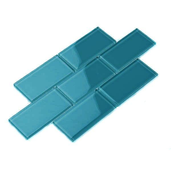 Glass Subway Tile Dark Teal 3 X 6 Piece