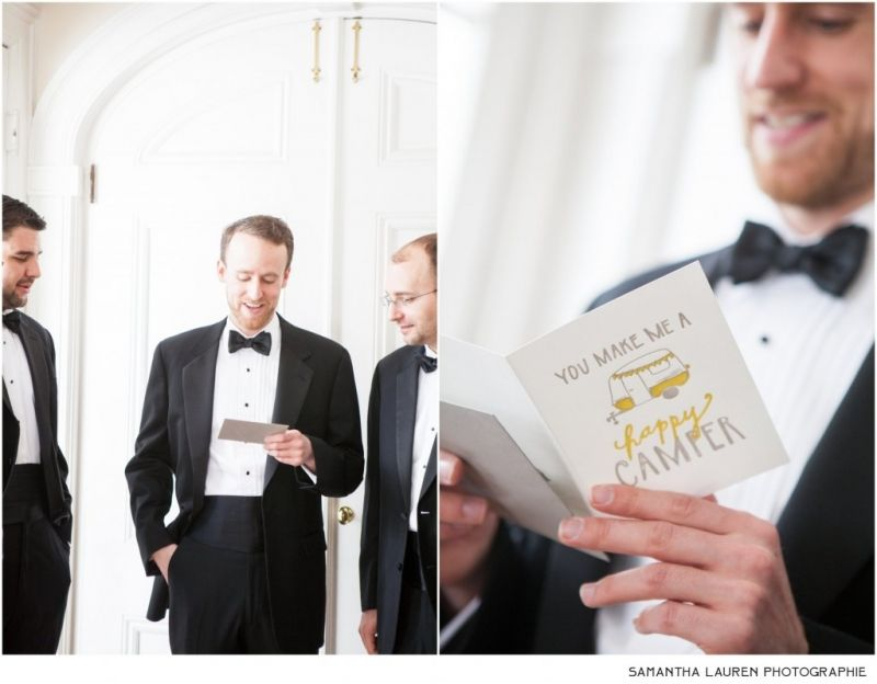 Groom reading letter from Bride before ceremony at a private residence