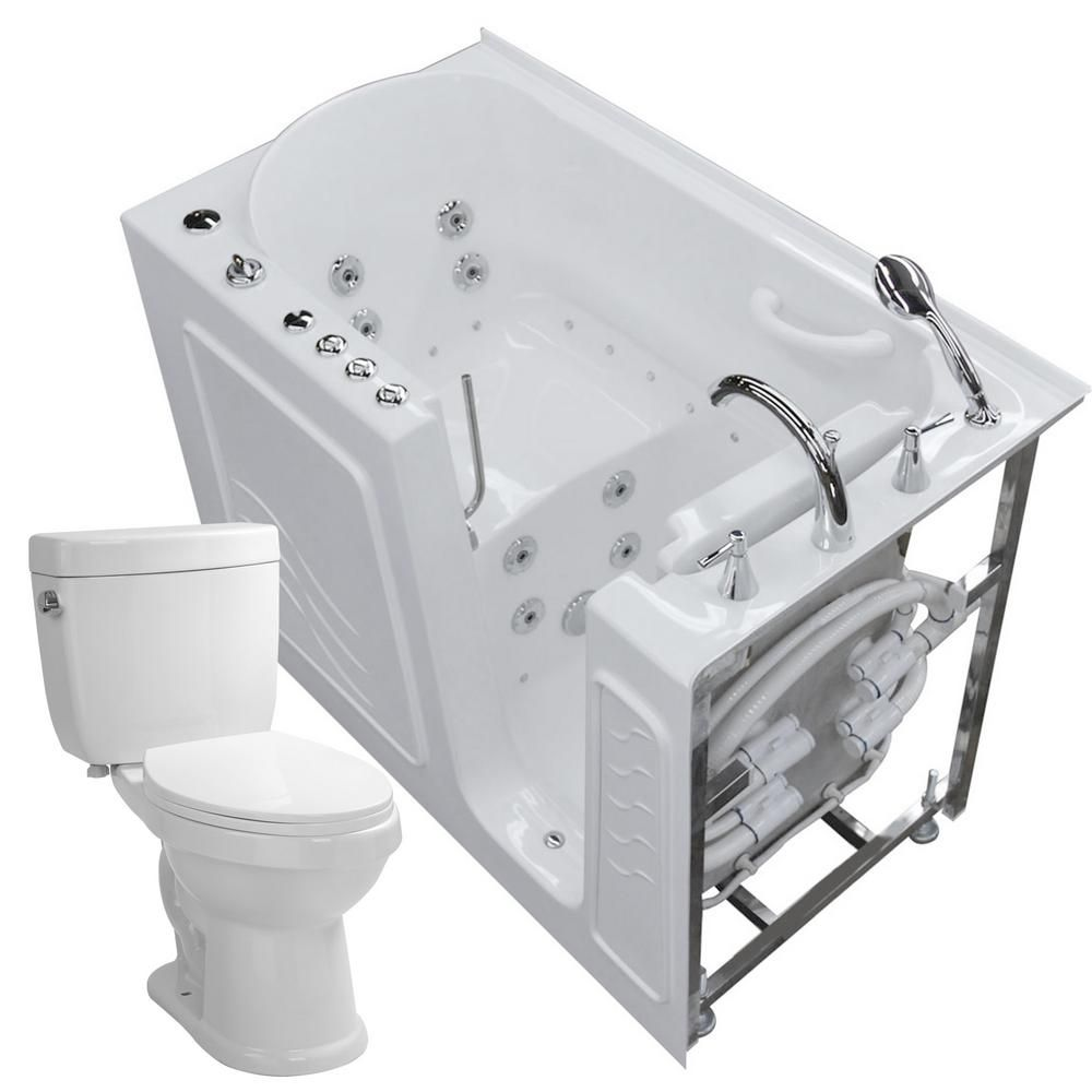 Universal Tubs 52.8 in. Walk-In Whirlpool and Air Bath Tub in White ...