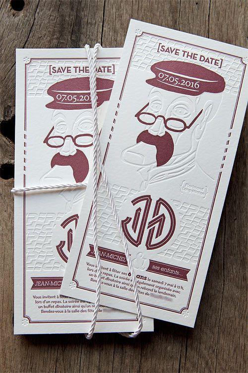 Carton invitation anniversaire 60 ans / letterpress 60th birthday party printed by Cocorico ...