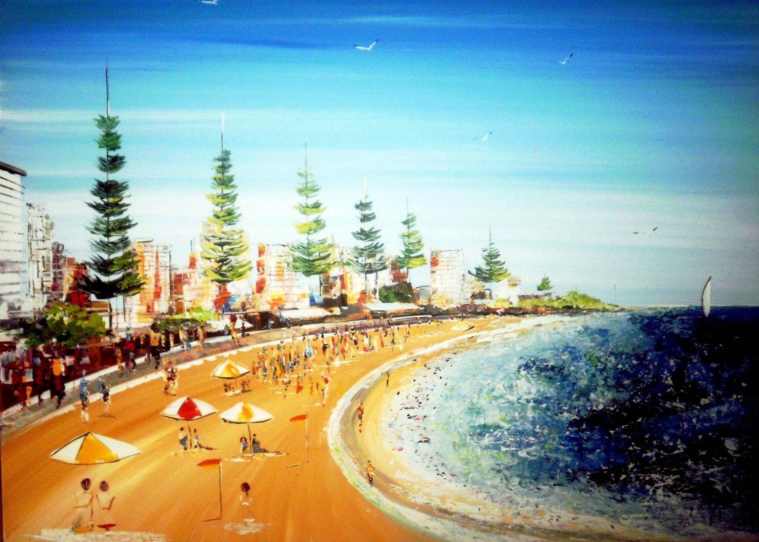 Seascape Beach Painting Acrylic On Canvas Artwork Blue White Yellow Rare Sydney Australia Scene Wall Art Home Decor