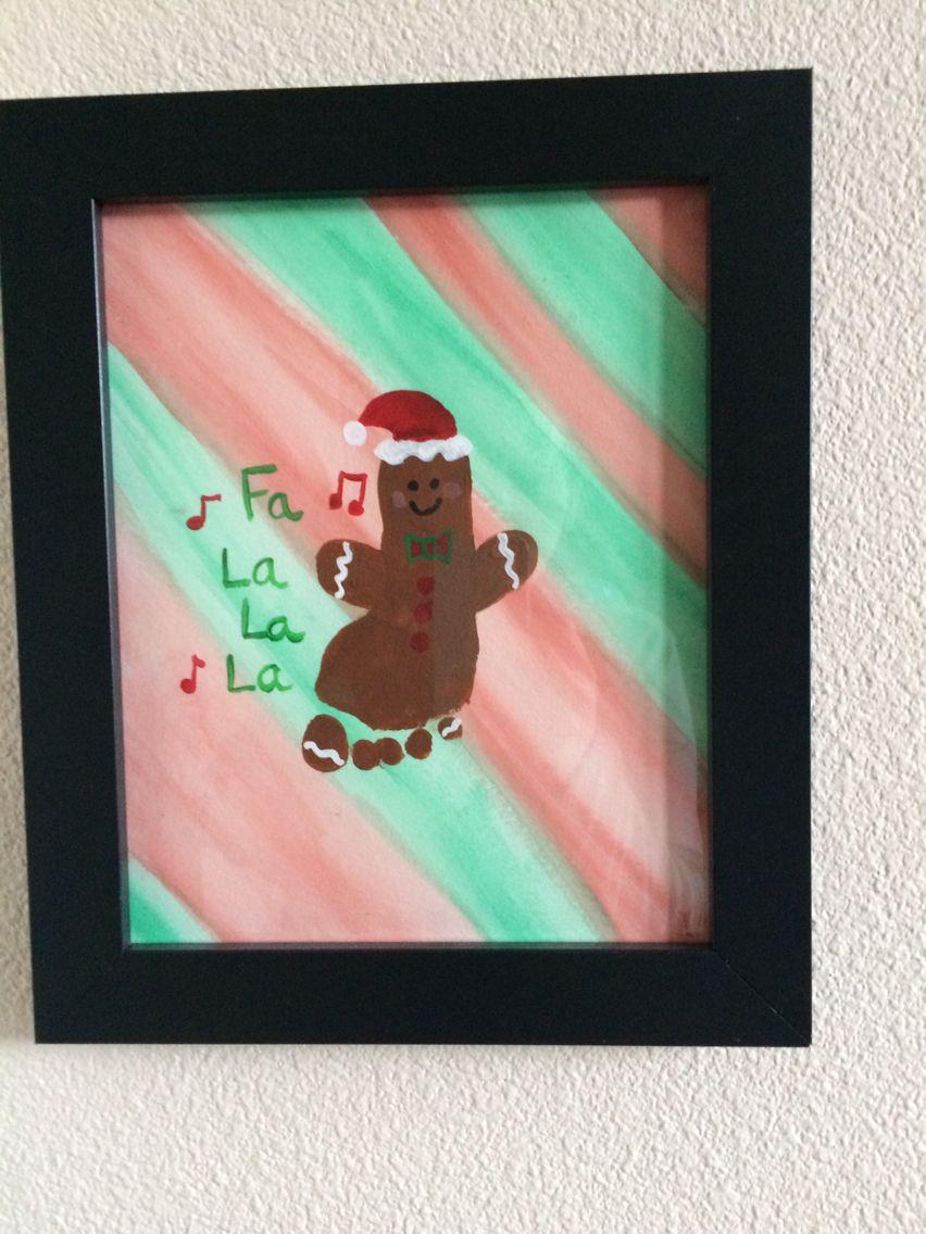 Gingerbread Man Footprint Art Christmas Crafts For Kids Xmas Crafts Christmas Art
